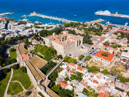 Rhodes old town aerial panoramic view in Rhodes island in Greece