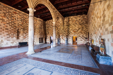RHODES, GREECE - MAY 13, 2018: Palace of the Grand Master in the old town of Rhodes Greece
