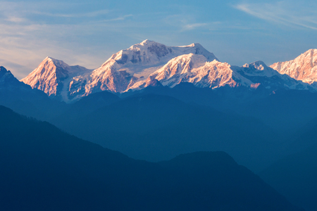 Kangchenjunga is the third highest mountain in the world, located in Sikkim, India Archivio Fotografico
