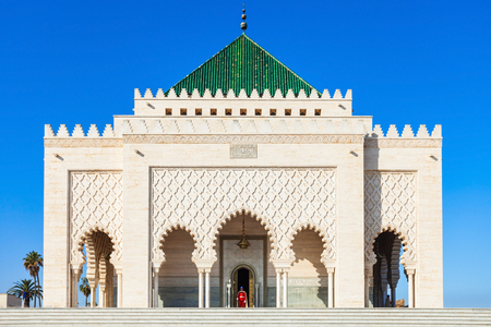 The Mausoleum of Mohammed V is a historical building located on the opposite side of the Hassan Tower on the Yacoub al-Mansour esplanade in Rabat, Morocco.