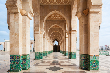 The Hassan II Mosque is a mosque in Casablanca, Morocco. It is the largest mosque in Morocco and the 7th largest in the world. 免版税图像 - 109072754
