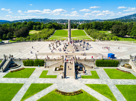 Vigeland sculpture park or Vigelandpark in Oslo, Norway. Vigeland is located in the Frognerpark in Oslo. Stok Fotoğraf - 109214170