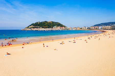 San Sebastian city beach in the Donostia San Sebastian city, Basque Country in northern Spain