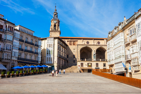 Church of San Miguel at the Virgen Blanca Square in Vitoria-Gasteiz, Spain