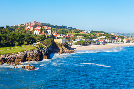 Comillas city cliff aerial panoramic view, Cantabria region of Spain Imagens