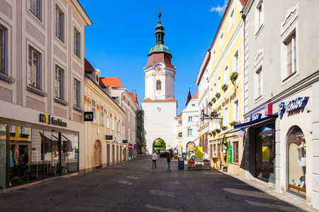 KREMS AN DER DONAU, AUSTRIA - MAY 14, 2017: Steiner Tor is a gate in the city of Krems an der Donau, in the Wachau valley of Austria. Steiner Tor originally built in the 15th century.