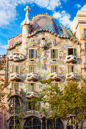 BARCELONA, SPAIN - OCTOBER 03, 2017: Casa Batllo is one of Antoni Gaudi masterpieces. Casa Batllo located in the center of Barcelona in Catalonia region of Spain Redakční