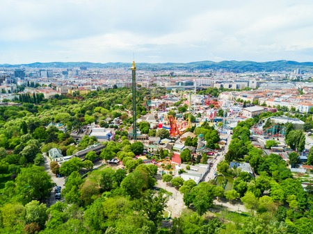 VIENNA, AUSTRIA - MAY 13, 2017: The Wurstelprater or Wurstel Prater aerial panoramic view. Wurstelprater is an amusement park and section of the Wiener Prater in Vienna, Austria.