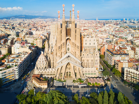 BARCELONA, SPAIN - OCTOBER 03, 2017: Sagrada Familia cathedral aerial panoramic view. Sagrada Familia is a catholic church in Barcelona, designed by Catalan architect Antoni Gaudi Editoriali