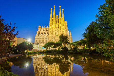 BARCELONA, SPAIN - OCTOBER 03, 2017: Sagrada Familia is a catholic church in Barcelona, designed by Catalan architect Antoni Gaudi