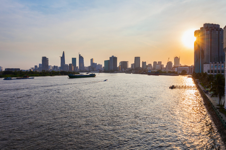 Ho Chi Minh city skyline aerial panoramic view at sunset. Ho Chi Minh is the largest city in Vietnam.