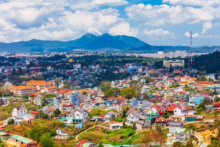 Dalat or Da Lat city aerial panoramic view in Vietnam Banco de Imagens