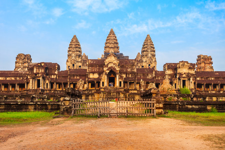 Angkor Wat temple in Siem Reap in Cambodia. Angkor Wat is the largest religious monument in the world.