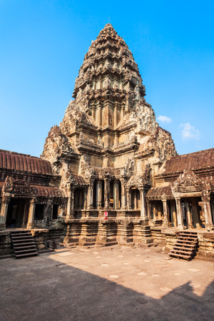 Main tower of Angkor Wat temple in Siem Reap in Cambodia. Angkor Wat is the largest religious monument in the world. Stock Photo