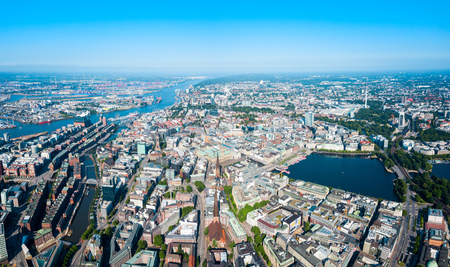 Hamburg city centre aerial panoramic view in Germany Imagens