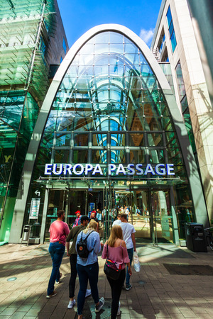 HAMBURG, GERMANY - JULY 07, 2018: Europa Passage is a large shopping mall in the Altstadt quarter of Hamburg, Germany Editorial