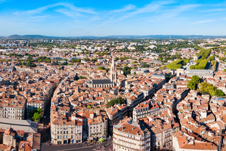 Montpellier aerial panoramic view. Montpellier is the capital city of the Herault department in southern France.