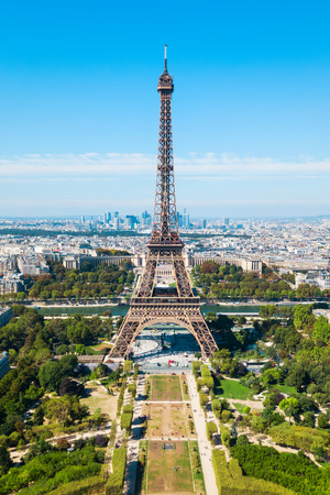 Eiffel Tower or Tour Eiffel aerial view, is a wrought iron lattice tower on the Champ de Mars in Paris, France Stock Photo