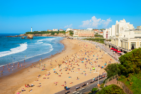 La Grande Plage aerial view from viewpoint, a public beach in Biarritz city on the Bay of Biscay on the Atlantic coast in France