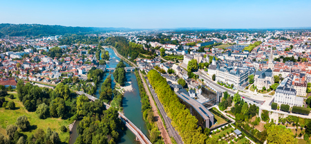 Pau aerial panoramic view. Pau is a city, commune and capital of Pyrenees Atlantiques in Nouvelle Aquitaine region, France