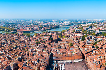 Toulouse aerial panoramic view. Toulouse is the capital of Haute Garonne department and Occitanie region in France.