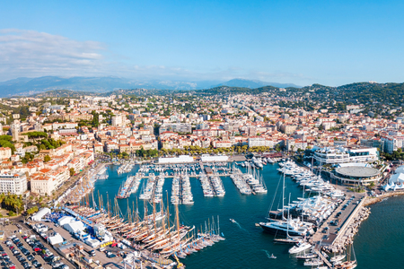 Cannes port aerial panoramic view. Cannes is a city located on the French Riviera or Cote dAzur in France.