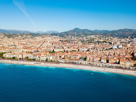 Nice aerial panoramic view. Nice is a city located on the French Riviera or Cote d'Azur in France. Imagens