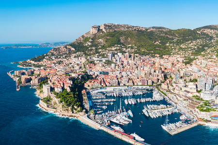 Monte Carlo port aerial panoramic view in  Monaco. Monaco is a country on the French Riviera near France in Europe. Stock Photo