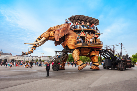 NANTES, FRANCE - SEPTEMBER 16, 2018: Machines of the Isle of Nantes is a artistic, touristic and cultural project based in Nantes, France Editorial