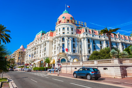 NICE, FRANCE - SEPTEMBER 27, 2018: The Hotel Negresco and restaurant Le Chantecler on the Promenade des Anglais in Nice city in France
