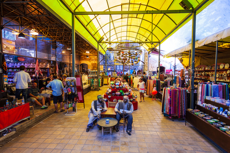 ANTALYA, TURKEY - SEPTEMBER 14, 2014: Grand Bazaar or Old Market in Antalya old town or Kaleici in Turkey Sajtókép