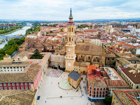 Cathedral of the Savior of Zaragoza or Catedral del Salvador is a Roman Catholic church in Zaragoza, Aragon region of Spain Banque d'images