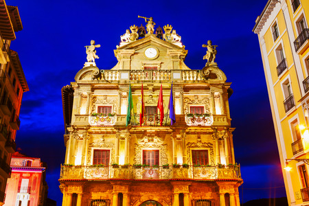 Pamplona City Council or Town Hall building in Pamplona city, Navarre region of Spain Stock Photo