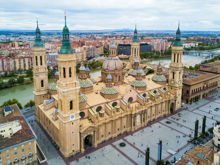 Cathedral Basilica of Our Lady of the Pillar aerial panoramic view, Zaragoza city in Aragon region of Spain