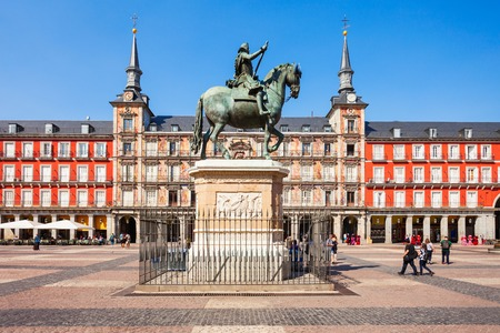 The Plaza Mayor or Main Square is a central plaza in the city of Madrid, Spain. Madrid is the capital of Spain. Redakční