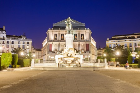 Philip IV of Spain monument and Teatro Real Royal Theatre, major opera house in Madrid city centre, Spain