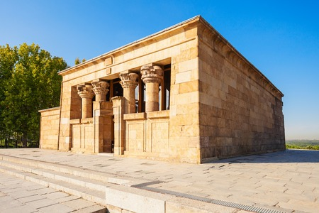 The Temple of Debod or Templo de Debod is an ancient Egyptian temple that was rebuilt in Madrid, Spain.
