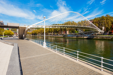 Nervion River embankment in the centre of Bilbao, largest city in the Basque Country in northern Spain