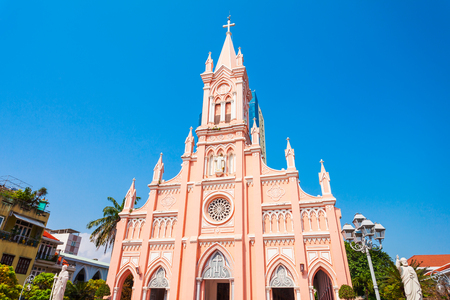 Da Nang Cathedral is a catholic church in Danang city in Vietnam Banco de Imagens
