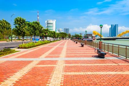 Riverfront promenade in Danang city in Vietnam 写真素材
