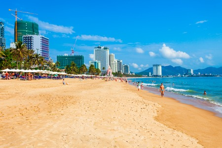 Nha Trang city beach is a public beach located in the centre of Nha Trang in Vietnam 免版税图像
