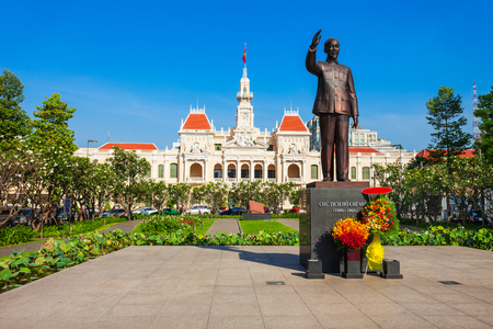 Ho Chi Minh City Hall or Saigon City Hall or Committee Head office is a building in a French colonial style in Ho Chi Minh, Vietnam 免版税图像 - 119589313
