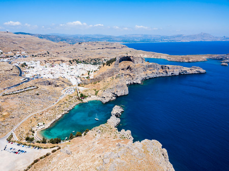 Saint Paul's Beach and Lindos Acropolis aerial panoramic view in Rhodes island in Greece 免版税图像