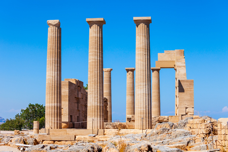 Lindos Acropolis aerial panoramic view in Rhodes island, Greece 免版税图像