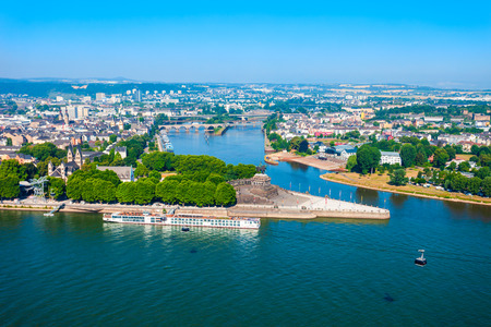 Deutsches Eck or German Corner is the name of a headland in Koblenz, where Mosel river joins Rhine in Germany Stok Fotoğraf
