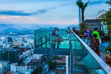 NHA TRANG, VIETNAM - MARCH 14, 2018: Skylight Nha Trang observation deck in Premier Havana Hotel in Nha Trang city, south Vietnam