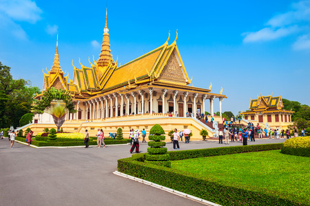 PHNOM PENH, CAMBODIA - MARCH 24, 2018: The Royal Palace is the royal residence of the king of Cambodia in Phnom Penh in Cambodia