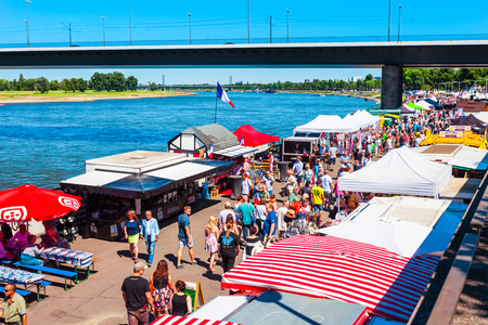 DUSSELDORF, GERMANY - JULY 01, 2018: Weekend food market in Dusseldorf city in Germany