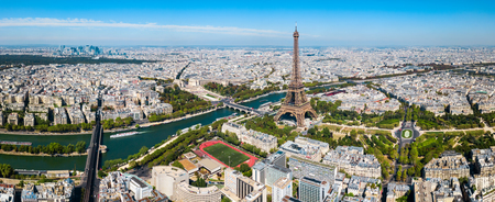 Paris city aerial panoramic view. Paris is the capital and most populous city of France.