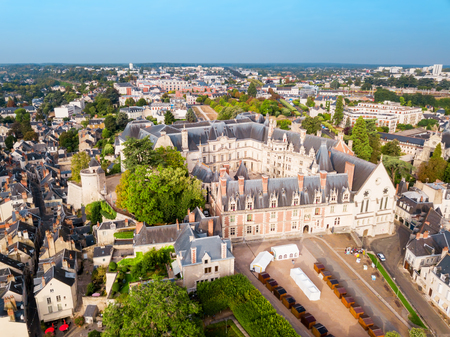 Royal Chateau de Blois aerial panoramic view in France